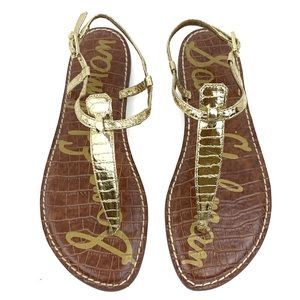 SAM EDELMAN Gold Croc-embossed Thong Sandals Sz 8